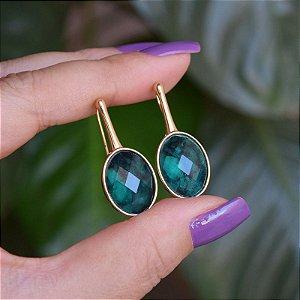 Brinco gancho pedra natural esmeralda ouro semijoia