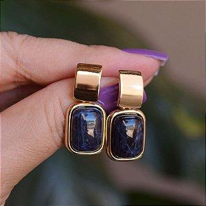 Brinco pedra natural sodalita ouro semijoia