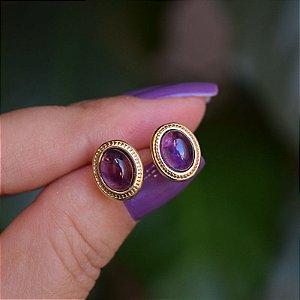 Brinco oval pedra natural ametista ouro semijoia