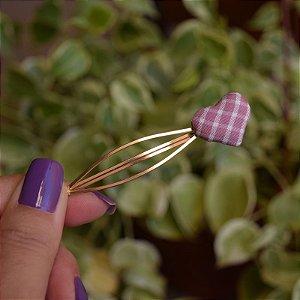 Grampo coração vichy lilás
