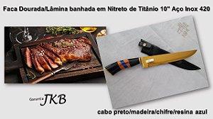 """Faca Dourada/ Lâmina banhada em Nitreto de Titânio 10"""""""