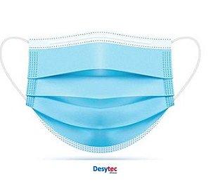 Máscara Descartável De Proteção Facial Tripla AZUL