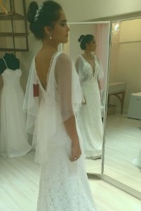 Vestido de Noiva Semi-Sereia com Decote Estilo Boho - ÍRIS