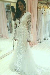 Vestido de Noiva Semi-Sereia com Decote nas Costas Mangas Tule Boho - VÍVIAN