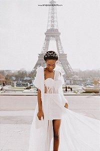 Vestido de Noiva Transparente com Fenda Boho-Chic - LAURIS