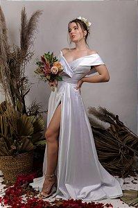 Vestido de Noiva Princesa fluido com fenda Ombro a Ombro - CHARLOTTE