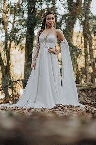Vestido de Noiva Minimalista simples com Decote Fluido - MELANIE
