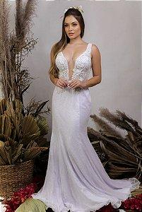 Vestido de Noiva 2 em 1 - Semi Sereia saia removível, decote em V e transparência - SARA