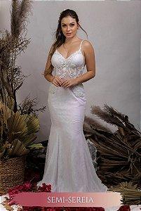 Vestido de Noiva Semi Sereia, Decote em V costas, alcinhas - LORRAINE