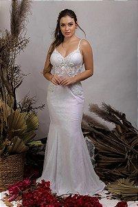Vestido de Noiva 2 em 1 - Semi Sereia com saia removível, Decote em V costas e alcinhas - LORRAINE