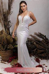 Vestido de Noiva Semi Sereia com corpete e decote coração - ÁGATA