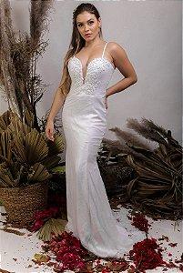 Vestido de Noiva 2 em 1 - Semi Sereia com saia removível, corpete e decote coração - ÁGATA