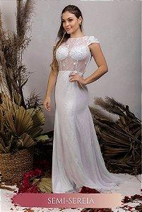 Vestido de Noiva Semi Sereia com mangas curtas, flores 3D e transparência- THALIA