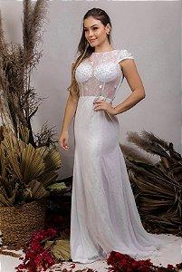 Vestido de Noiva 2 em 1 - Semi Sereia com saia removível, mangas curtas, flores 3D e transparência - THALIA