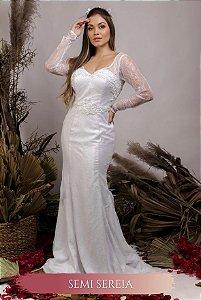 Vestido de Noiva Semi Sereia com corpete e decote coração - NATÁLIA