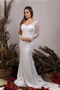 Vestido de Noiva 2 em 1 - Semi Sereia com saia removível e decote coração - NATÁLIA