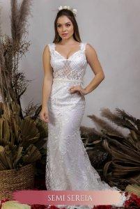 Vestido de Noiva Semi Sereia com decote nas costas - RAQUEL
