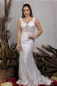Vestido de Noiva 2 em 1 - Semi Sereia com saia removível e decote nas costas - RAQUEL
