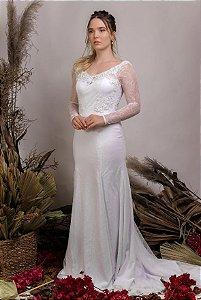 Vestido de Noiva 2 em 1 - Semi Sereia com saia removível e decote coração - BELLA