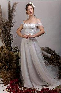 Vestido de Noiva Princesa fluido com corpete - ALICE