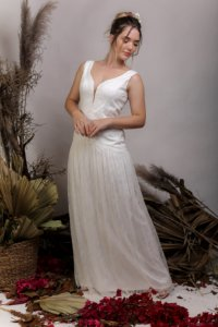 Vestido de Noiva Semi Sereia, fluido, estilo Boho, com decote nas costas - NICE
