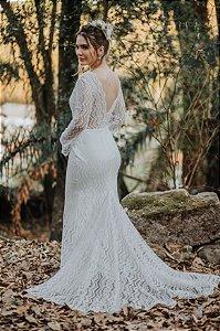 Vestido de Noiva Semi-Sereia Boho com Decote - CAMILA