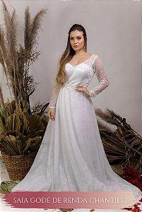 Vestido de Noiva Fluido com corpete e decote coração - NATÁLIA