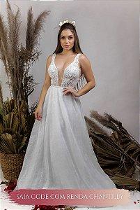 Vestido de Noiva Fluido com decote em V e transparência - SARA
