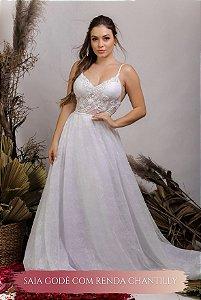 Vestido de Noiva Fluido, Decote em V costas, alcinhas - LORRAINE