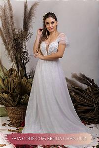 Vestido de Noiva Fluido com corpete e decote coração - ÁGATA