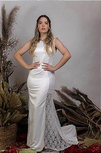 Vestido Civil Longo Branco com transparência - Isa