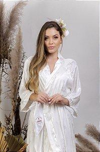 Robe cetim adamascado off-white - ROSE curto
