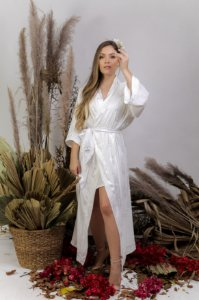 Robe cetim adamascado off-white - ROSE longo