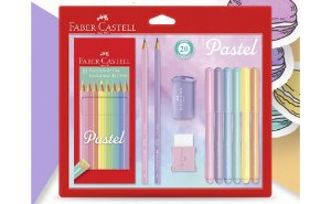 Kit Tons Pastel, Faber-Castell, Lápis de Cor + Canetinhas + Borracha + Apontador + Lapis Grafite