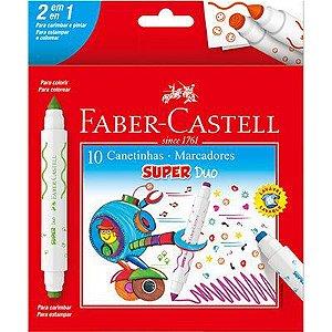 Caneta Hidrografica 10 cores Ponta Duo DUO150610 Faber Castell