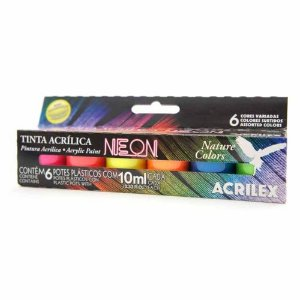 Tinta Acrílica Nature Colors Neon Com 6 Cores 10ml Acrilex