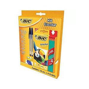 Kit Lápis de Cor Bic Evolution 12 Cores + 4 Lápis + 2 Canetas + 1 Apontador + 1 Borracha