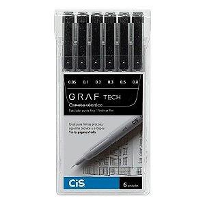 Conjunto Canetas Técnica Graf Tech Preto C/6 Cis