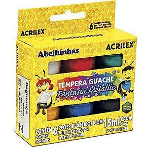 Tinta Guache C/6 Cores 15ml Metallic Acrilex