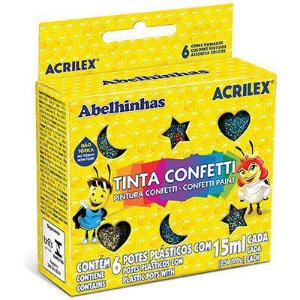 Tinta Confeti 15ml C/6 Cores Acrilex