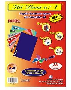 Kit Leoni Papéis Escolares A4 NR 1 -C/38 folhas Leoni