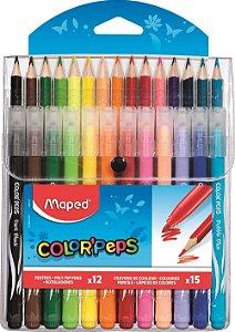 Kit 15 Lápis de Cor + 12 Canetas Hidrográficas Color Peps Maped