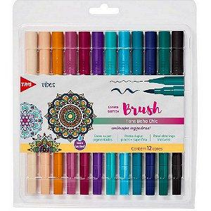 Caneta Brush Tris Dual Sketch Tons Boho Chic 12 Cores