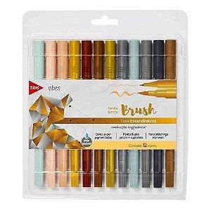 Caneta Brush Tris Dual Sketch Tons Escandinavos 12 Cores