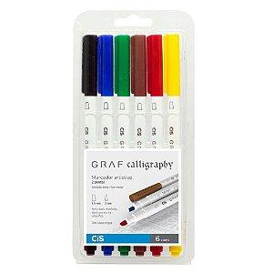 Marcador Artistico Graf Calligraphy Duo Com 6 Cores Cis
