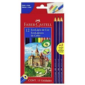 Lápis De Cor 12 cores + 3 Lápis De Escrever - Faber Castell