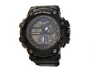 Relógio LDC Santino Preto +Azul Marinho R.SAR11U02