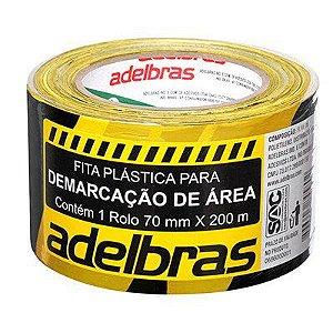 Fita p/ demarcação área 70mmx200m zebrada preto/amarelo Adelbras