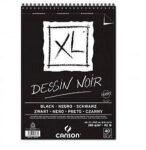 Bloco Papel Canson XL Dessin Noir Preto A4 150g 40 Folhas