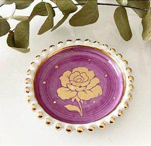 Prato Rosa Ouro Borda Bolinhas Ouro